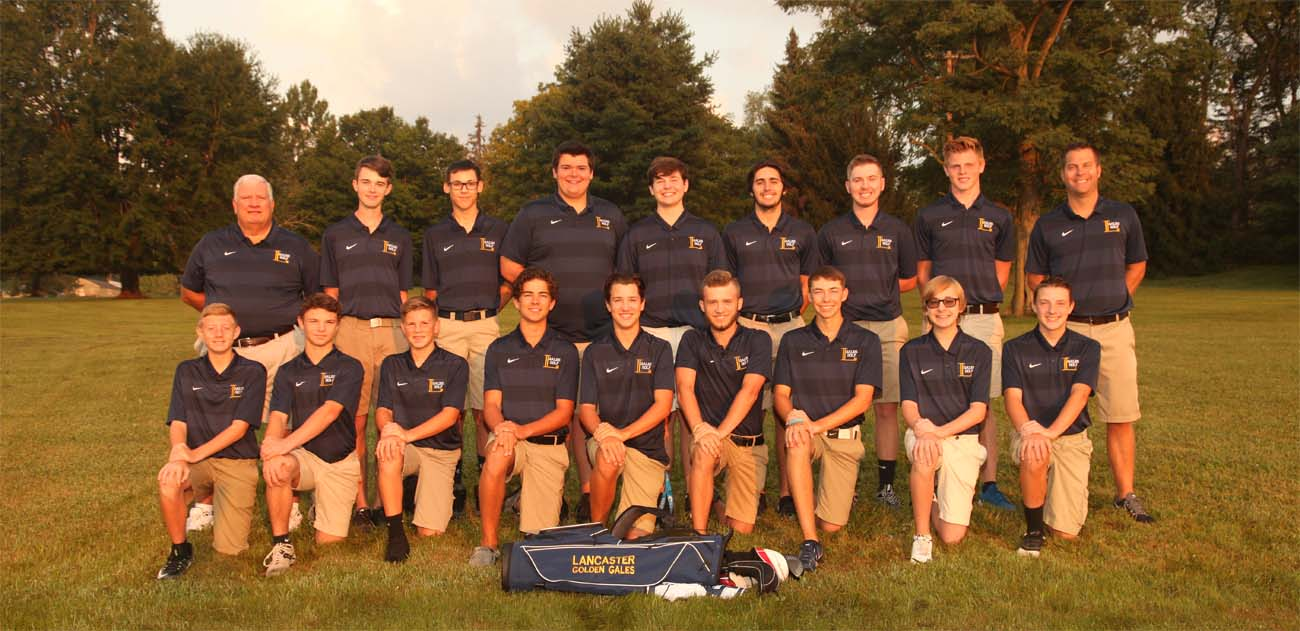 team golf team photos standing in matching blue shirts and shorts